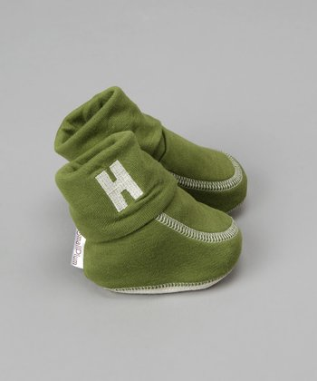 Small Plum - Green Booties with Embroidered Initial