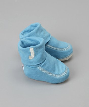 Small Plum - Blue Booties with Embroidered Initial