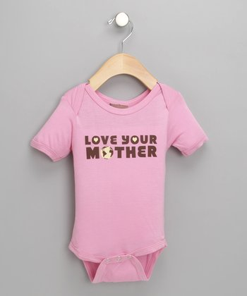 Pink 'Love Your Mother' Organic Bodysuit