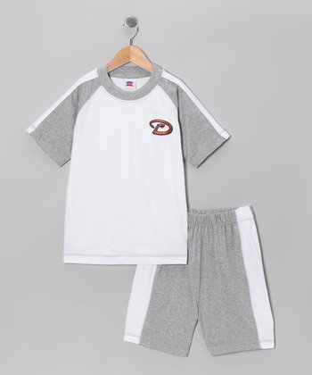 Heather Gray Arizona Diamondbacks Raglan Tee & Shorts - Kids