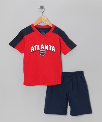 Red & Navy Atlanta Braves Tee & Shorts - Toddler