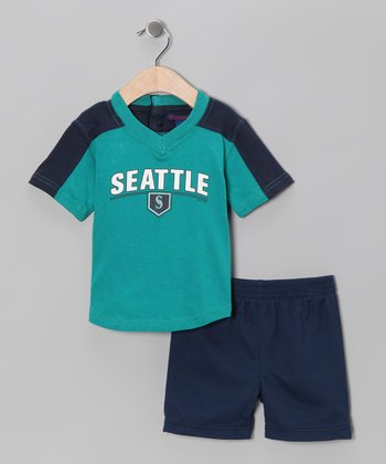 Navy & Green Seattle Mariners Tee & Shorts - Infant
