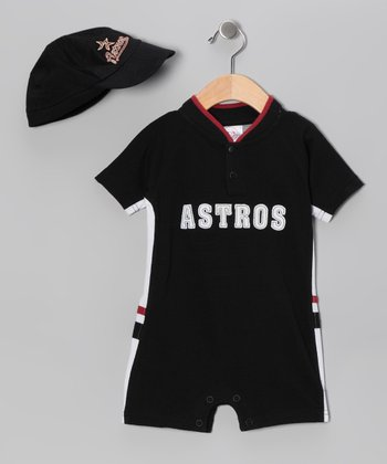 Black Houston Astros Romper & Cap - Infant