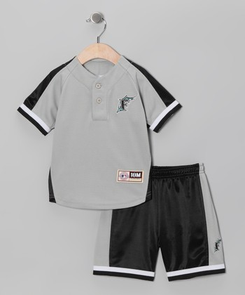 Black Miami Marlins Jersey & Shorts - Infant