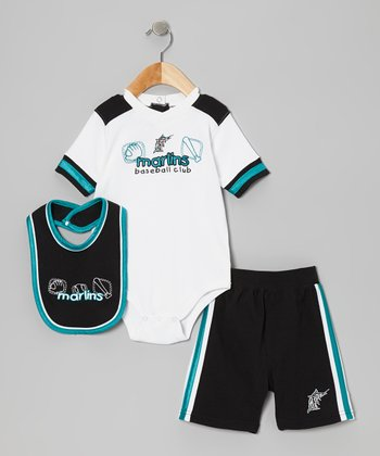 White Miami Marlins Bodysuit Set - Infant