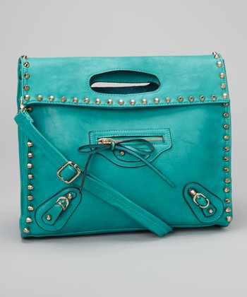Blue Studded Ashlyn 6 Oversize Clutch