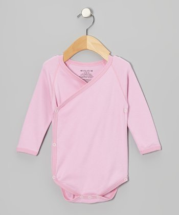 Cotton Candy Pink Organic Wrap Bodysuit
