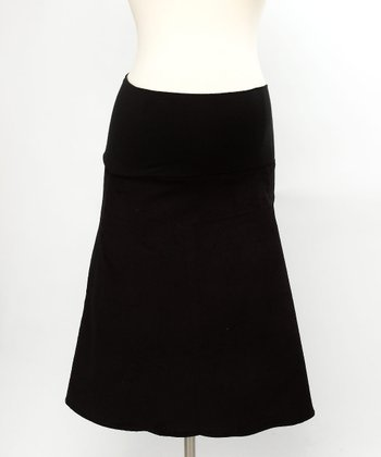 Black Corduroy Maternity Skirt