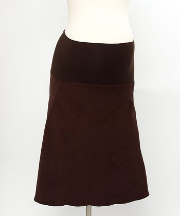 Brown Corduroy Maternity Skirt