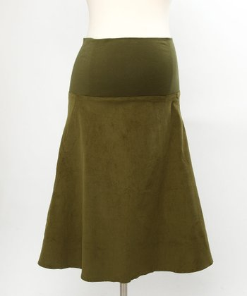 Green Corduroy Maternity Skirt