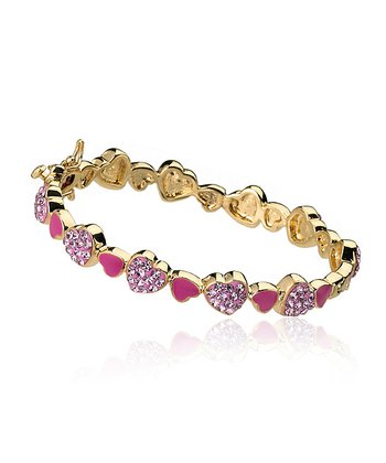 Hot Pink Crystal & Gold Heart Bangle