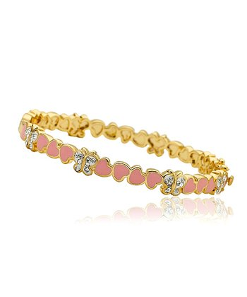 Pink Enamel & Gold Heart Bangle