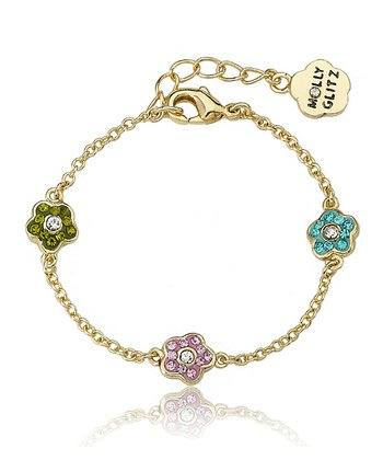 Pink & Green Crystal & Gold Flower Bracelet