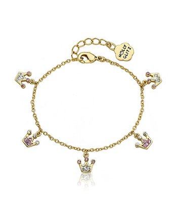 Pink Crystal & Gold Crown Bracelet