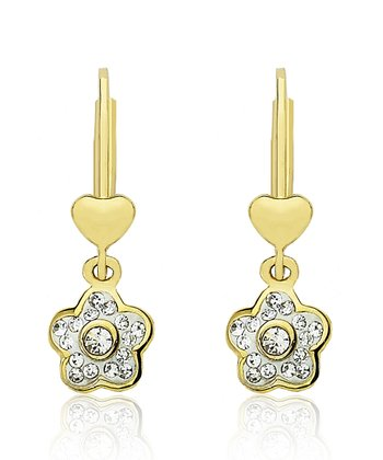 Crystal & Gold Flower & Heart Earrings