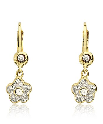 White Crystal & Gold Flower Earrings