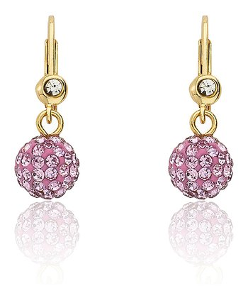 Gold & Pink Crystal Ball Dangle Leverback Earrings