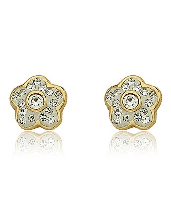 White Crystal Flower Stud Earrings