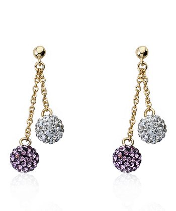 White & Purple Crystal & Gold Ball Lariat Earrings