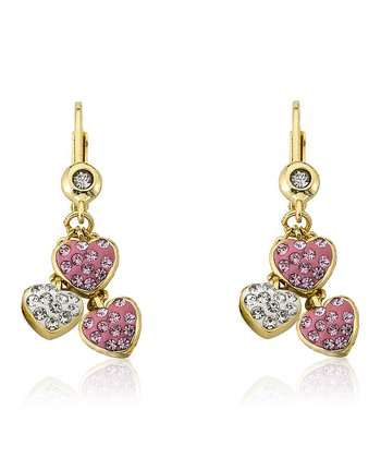 Pink Crystal & Gold Heart Cluster Earrings
