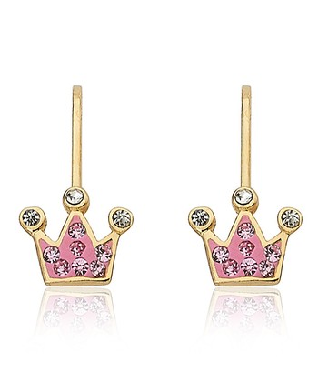 Pink Crystal & Gold Crown Drop Earrings