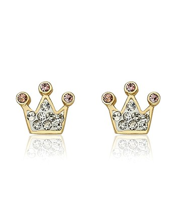 Clear Crystal & Gold Crown Stud Earrings