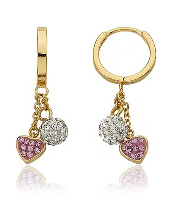 Pink Crystal & Gold Heart Cluster Huggy Earrings