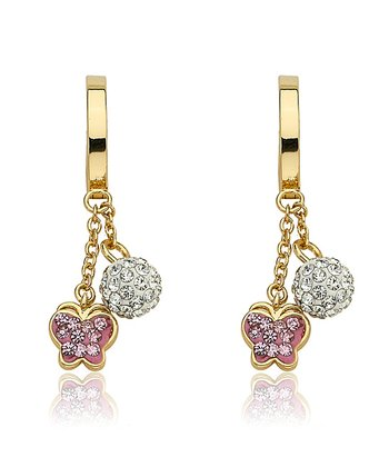 Pink Crystal & Gold Butterfly Cluster Earrings