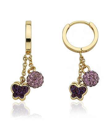 Purple Crystal & Gold Butterfly Cluster Earrings