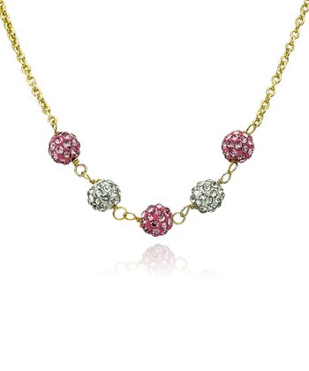 Pink & White Crystal & Gold Ball Necklace