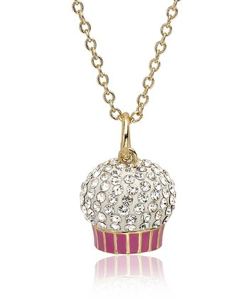 Clear Crystal & Gold Cupcake Pendant Necklace