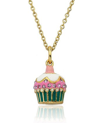 Pink Enamel & Gold Cupcake Pendant Necklace