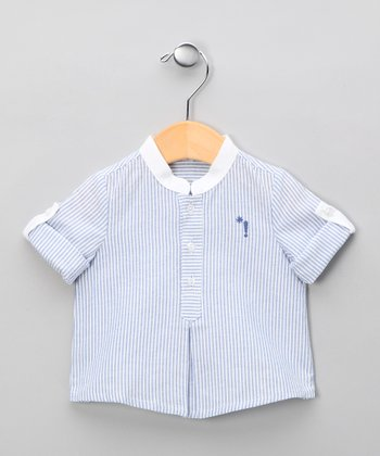 White & Blue Stripe Shirt - Infant