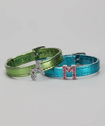 Blue & Green Metallic Initial Charm Bracelet Set