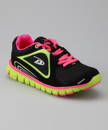 Pro Player Black & Hot Pink Spectra Running Shoe - Kids