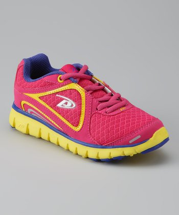Pro Player Raspberry & Yellow Spectra Running Shoe - Kids