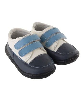 White & Blue Runabout Double-Strap Shoe