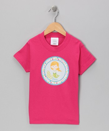 Pink Personalized Blonde Mermaid Tee - Infant, Toddler & Girls