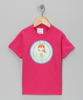 Pink Red Hair Mermaid Personalized Tee - Infant, Toddler & Girls