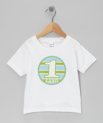 Blue & Green Stripe Personalized Tee - Infant, Toddler & Boys