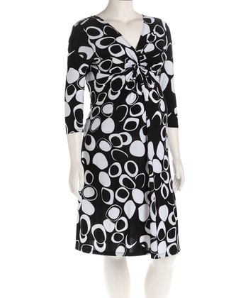 Black Circle Knot Front Maternity Dress