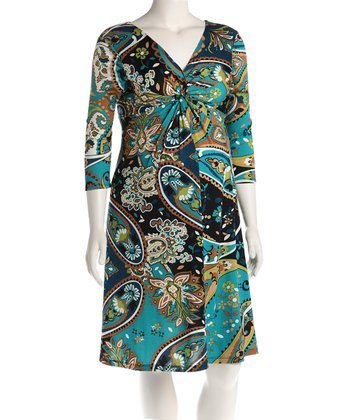 Green Paisley Knot Front Maternity Dress