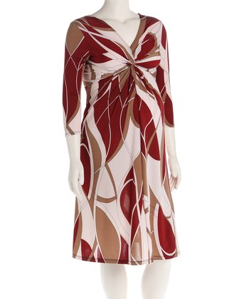 Burgundy Knot Front Maternity Dress