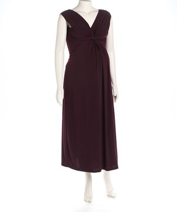 Eggplant Knot Front Maternity Maxi Dress
