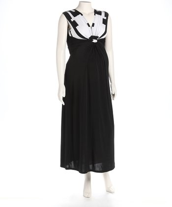 Black & White Knot Front Maternity Maxi Dress