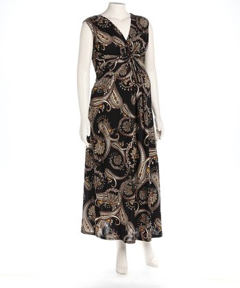 Black Paisley Knot Front Maternity Maxi Dress