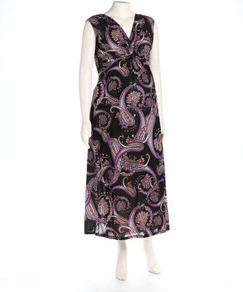Paisley Knot Front Maternity Maxi Dress