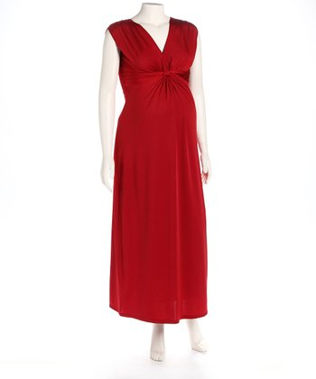 Red Knot Front Maternity Maxi Dress