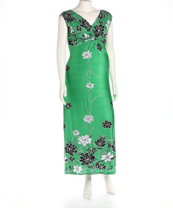 Green Knot Front Maternity Maxi Dress