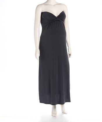 Charcoal Knot Front Maternity Evening Gown